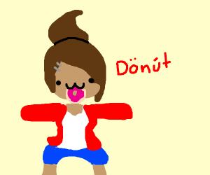 Dan gan ron pa?, girl eating a donut