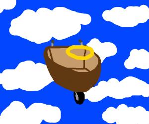 wooden wheelbarrow goes to heaven