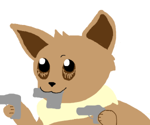 Eevee holding 3 guns at once