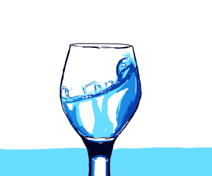 A wine glass with ice water