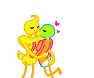 Two ducks kiss, one has trump hair