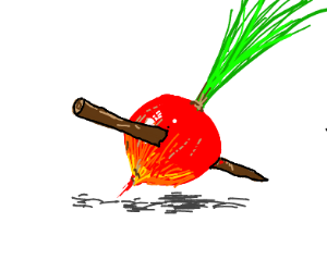 Man Stabbing a Radish with a stick