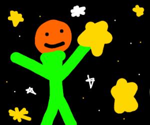 green man with orange head catching stars