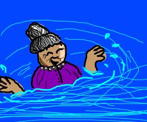 Grandma playing in the Water
