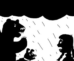 bear and dog scare girl in rain
