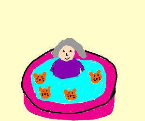 Grandma in the kitty pool
