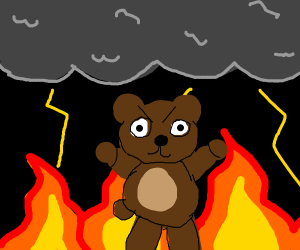 Bear lightning things on fire