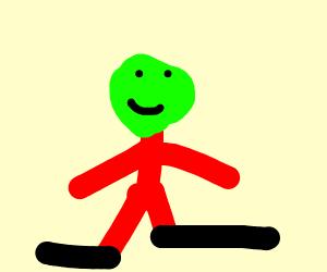 Green head person