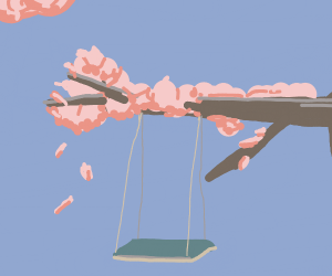 A swing hanging from a cherry blossom tree