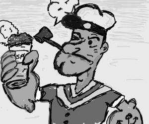 popeye holding a can of spinach