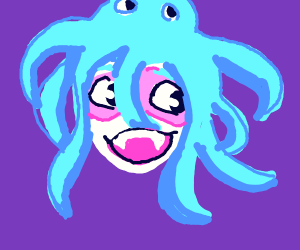 Pink mask girl with octopus hair and fang