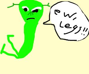 Green alien doesn't like it's legs