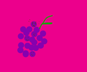 one angery grape in a bunch