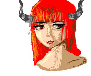 Red Haired Girl With Gray Horns