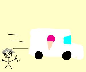old hag shaking fist at icecream truck