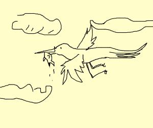 stork carryin a fish