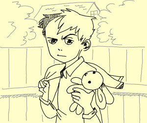 anime schoolboy holding a toy bunny