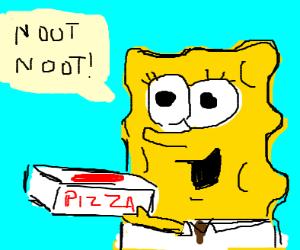 Spongebob holding pizza box goes noot noot
