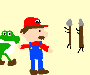 Mario and Yoshi getting attacked by spears