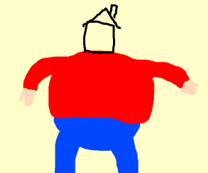 A fat guy with a house for a head