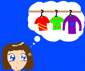 Anime girl thinks about shirts