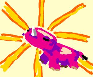 a pink rhinoceros