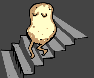 potato walks down the stairs