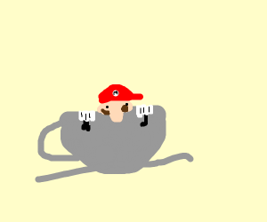 Mario in a tea cup with a wrench and crowbar