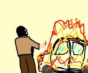 terrorists put a car on fire