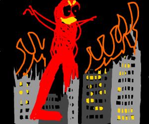 giant demon destroys the city