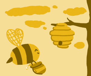 Honeybees bringing honey back to the hive