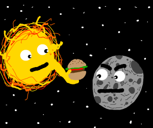 Star gives burger to angry moon