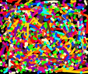 Jackson Pollock painting,kindergarten version