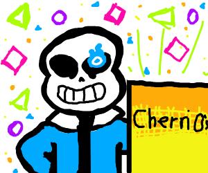 Sans advertises Cherri O's cereal
