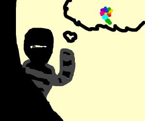 Robber imagining a Flower