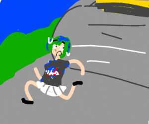 Earth chan running from a road roller