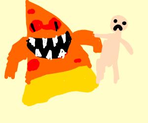 Evil pizza eats man