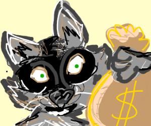 Raccoon with a big money bag