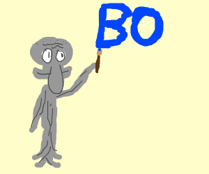 Squidward has turned to stone, and wrote a bo