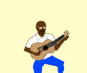 Person with glasses tuning guitar