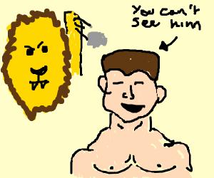 A lion throwing a rock a John Cena