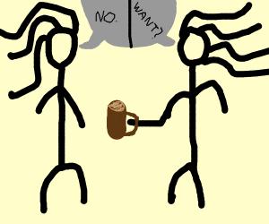 Woman refuses drink