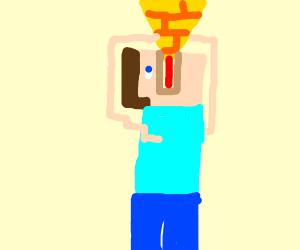 Steve Minecraft eats a pyramid