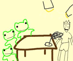 3 frogs interrogate a man