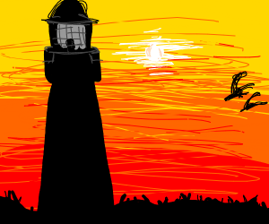 lighthouse in the sunset