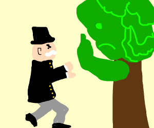 Monopoly man fights with angry tree