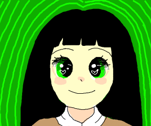 anime girl with green eyes and balck hair