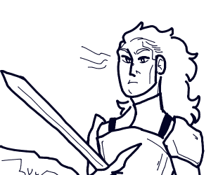 Guy with long hair whips a sword at a rock