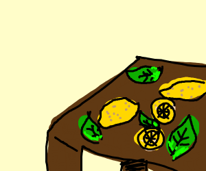 Lemons and leaves on a table