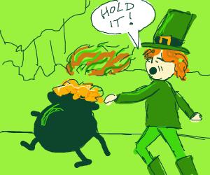fat leprechaun runs after smelly pot of gold